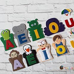 Puppet Set - Add-on Alphabet -vowels (FINGER Puppets ONLY)