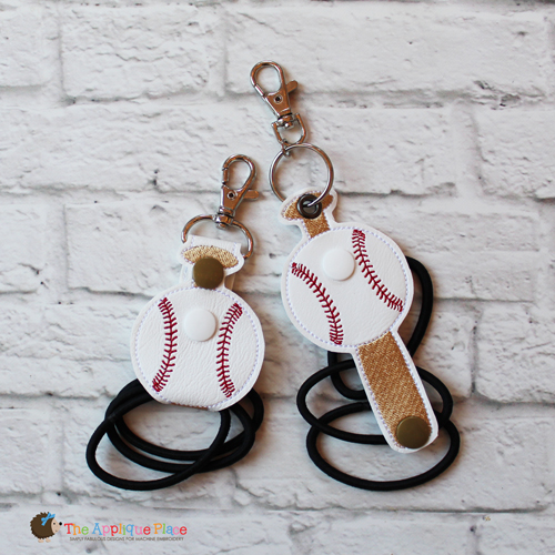 Key Fob - Hair Thing Holder - Baseball and Bat