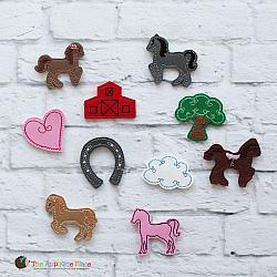 Felties - Horses - Set of 10 PLUS Bag