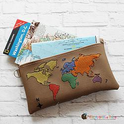 In the Hoop World Map Bag (6x10 & 8x12)
