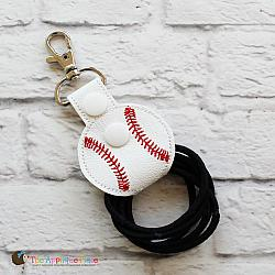 Key Fob - Hair Thing Holder - Baseball (Snap Tab)
