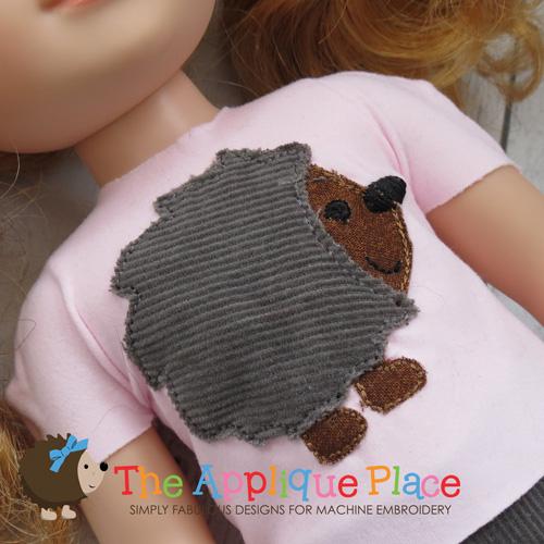 Doll Clothing - 14 Inch Doll Hedgehog Applique