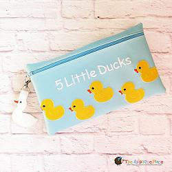 In the Hoop 5 Little Ducks Puppet Bag and Duck Bag Tag