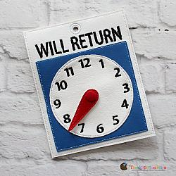 Pretend Play - ITH - Will Return Sign/Clock